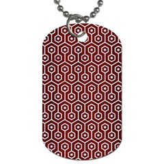 Hexagon1 White Marble & Red Wood Dog Tag (two Sides) by trendistuff