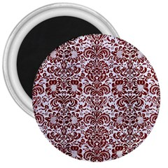 Damask2 White Marble & Red Wood (r) 3  Magnets by trendistuff