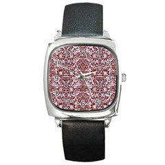 Damask2 White Marble & Red Wood (r) Square Metal Watch by trendistuff