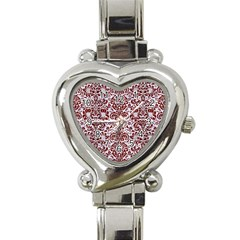 Damask2 White Marble & Red Wood (r) Heart Italian Charm Watch by trendistuff