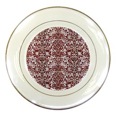 Damask2 White Marble & Red Wood (r) Porcelain Plates by trendistuff