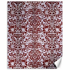 Damask2 White Marble & Red Wood (r) Canvas 16  X 20   by trendistuff