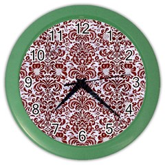 Damask2 White Marble & Red Wood (r) Color Wall Clocks by trendistuff