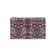 Damask2 White Marble & Red Wood (r) Cosmetic Bag (small)  by trendistuff