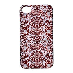 Damask2 White Marble & Red Wood (r) Apple Iphone 4/4s Hardshell Case With Stand by trendistuff