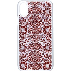 Damask2 White Marble & Red Wood (r) Apple Iphone X Seamless Case (white)