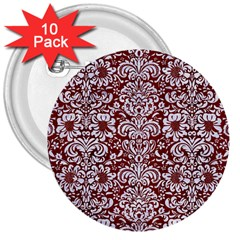 Damask2 White Marble & Red Wood 3  Buttons (10 Pack)  by trendistuff