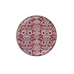 Damask2 White Marble & Red Wood Hat Clip Ball Marker (4 Pack) by trendistuff