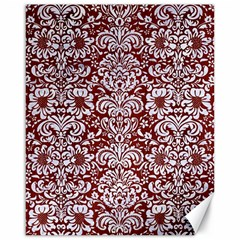 Damask2 White Marble & Red Wood Canvas 16  X 20   by trendistuff