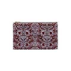 Damask2 White Marble & Red Wood Cosmetic Bag (small)  by trendistuff