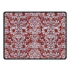 Damask2 White Marble & Red Wood Double Sided Fleece Blanket (small)  by trendistuff