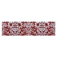 Damask2 White Marble & Red Wood Satin Scarf (oblong) by trendistuff