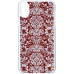 Damask2 White Marble & Red Wood Apple Iphone X Seamless Case (white)