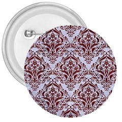 Damask1 White Marble & Red Wood (r) 3  Buttons by trendistuff