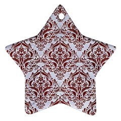 Damask1 White Marble & Red Wood (r) Star Ornament (two Sides)