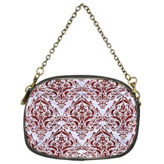 Damask1 White Marble & Red Wood (r) Chain Purses (two Sides)  by trendistuff