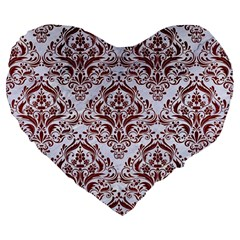 Damask1 White Marble & Red Wood (r) Large 19  Premium Heart Shape Cushions by trendistuff