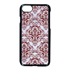 Damask1 White Marble & Red Wood (r) Apple Iphone 8 Seamless Case (black) by trendistuff