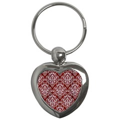 Damask1 White Marble & Red Wood Key Chains (heart)  by trendistuff