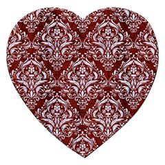 Damask1 White Marble & Red Wood Jigsaw Puzzle (heart) by trendistuff