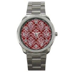 Damask1 White Marble & Red Wood Sport Metal Watch by trendistuff