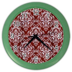 Damask1 White Marble & Red Wood Color Wall Clocks by trendistuff