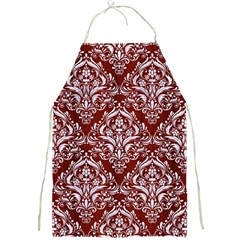 Damask1 White Marble & Red Wood Full Print Aprons by trendistuff