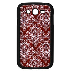 Damask1 White Marble & Red Wood Samsung Galaxy Grand Duos I9082 Case (black) by trendistuff