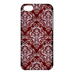 Damask1 White Marble & Red Wood Apple Iphone 5c Hardshell Case by trendistuff