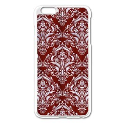 Damask1 White Marble & Red Wood Apple Iphone 6 Plus/6s Plus Enamel White Case by trendistuff