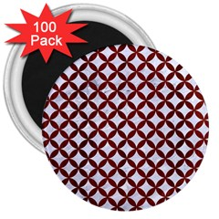 Circles3 White Marble & Red Wood (r) 3  Magnets (100 Pack) by trendistuff