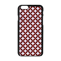 Circles3 White Marble & Red Wood (r) Apple Iphone 6/6s Black Enamel Case by trendistuff