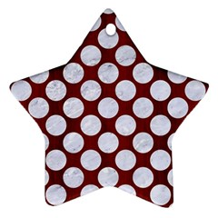 Circles2 White Marble & Red Wood Star Ornament (two Sides)