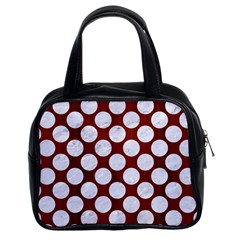 Circles2 White Marble & Red Wood Classic Handbags (2 Sides) by trendistuff