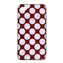 Circles2 White Marble & Red Wood Apple Iphone 4/4s Seamless Case (black) by trendistuff