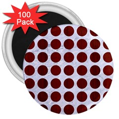 Circles1 White Marble & Red Wood (r) 3  Magnets (100 Pack) by trendistuff