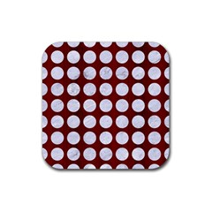 Circles1 White Marble & Red Wood Rubber Coaster (square)  by trendistuff