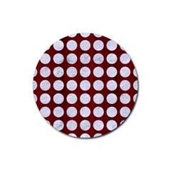Circles1 White Marble & Red Wood Rubber Coaster (round)