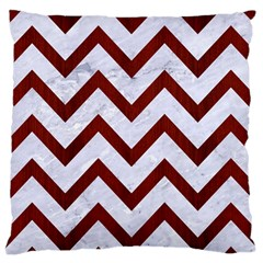 Chevron9 White Marble & Red Wood (r) Large Cushion Case (two Sides) by trendistuff