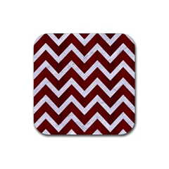 Chevron9 White Marble & Red Wood Rubber Square Coaster (4 Pack)  by trendistuff