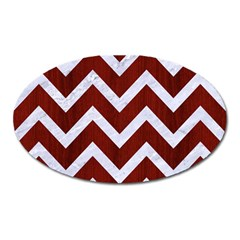 Chevron9 White Marble & Red Wood Oval Magnet