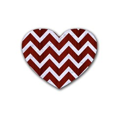 Chevron9 White Marble & Red Wood Rubber Coaster (heart)  by trendistuff