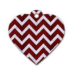 Chevron9 White Marble & Red Wood Dog Tag Heart (one Side) by trendistuff