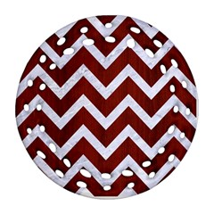 Chevron9 White Marble & Red Wood Ornament (round Filigree) by trendistuff