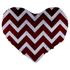 Chevron9 White Marble & Red Wood Large 19  Premium Flano Heart Shape Cushions by trendistuff