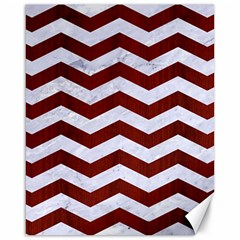 Chevron3 White Marble & Red Wood Canvas 16  X 20   by trendistuff