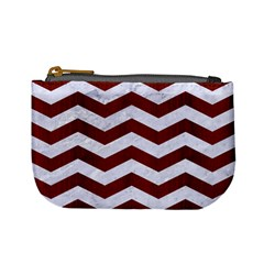 Chevron3 White Marble & Red Wood Mini Coin Purses by trendistuff