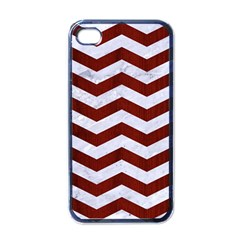 Chevron3 White Marble & Red Wood Apple Iphone 4 Case (black) by trendistuff