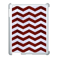 Chevron3 White Marble & Red Wood Apple Ipad 3/4 Case (white) by trendistuff