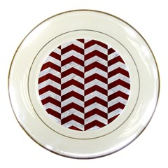 Chevron2 White Marble & Red Wood Porcelain Plates by trendistuff